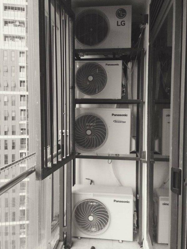 cục nóng điều hòa lắp cùng 1 vị trí không tản được nhiệt