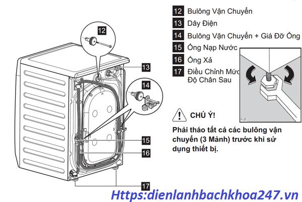 vị trí lắp ống thoát nước máy giặt cửa ngang tránh nước thoát hết ra ngoài